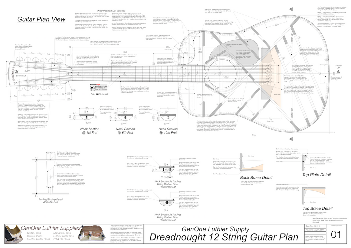 Dreadnought 12-String Guitar Plans Guitar Plans Top View, Neck Sections & Purfling Details