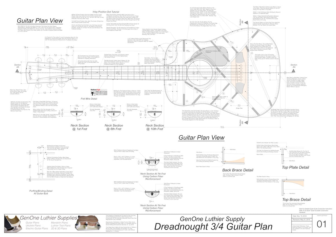 Dreadnought 3/4 Guitar Plans Top View, Neck Sections & Purfling Details