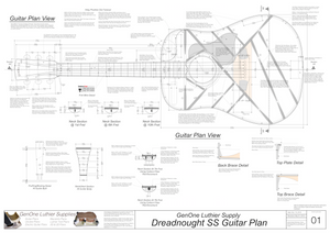 Dreadnought SS Guitar Plans Top View, Neck Sections & Purfling Details