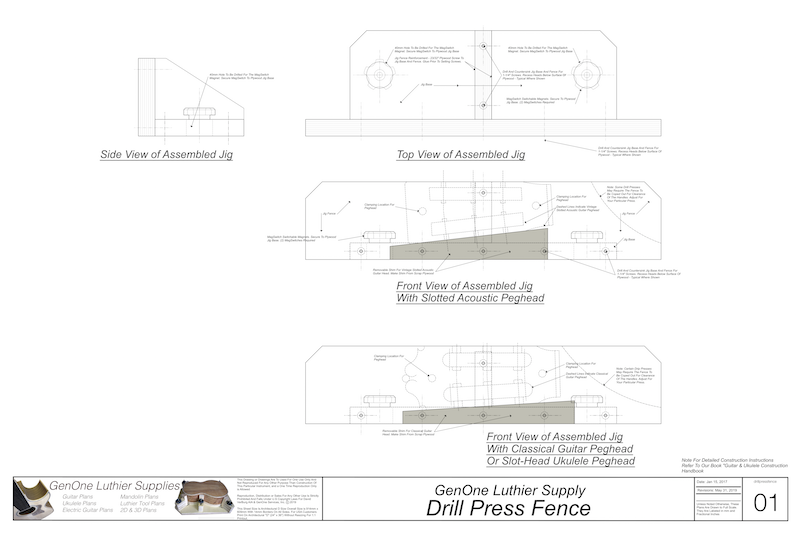 Drill Press Fence Plans: top, front and end views of assembled fence