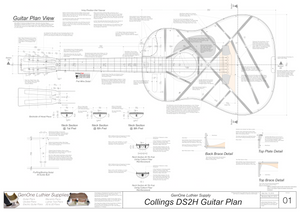 Collins DS2H Guitar Plans Top View, Neck Sections & Purfling Details