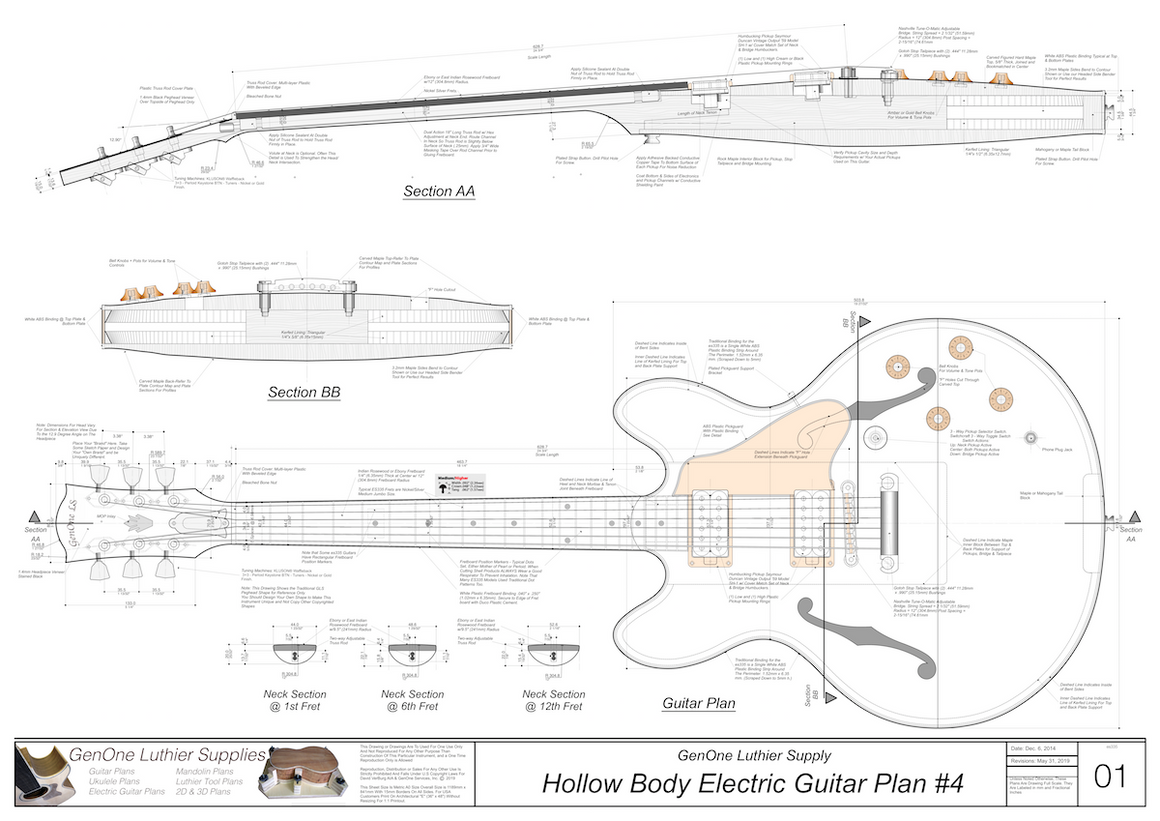 Hollow Body Electric Guitar Plan #4 Guitar top view, lateral & longitudinal sections, neck sections