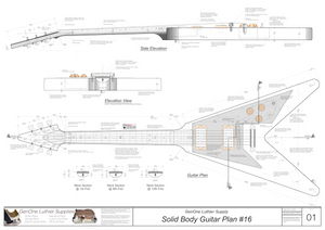 Solid Body Electric Guitar Plan #16 Guitar Top & Side View, Section
