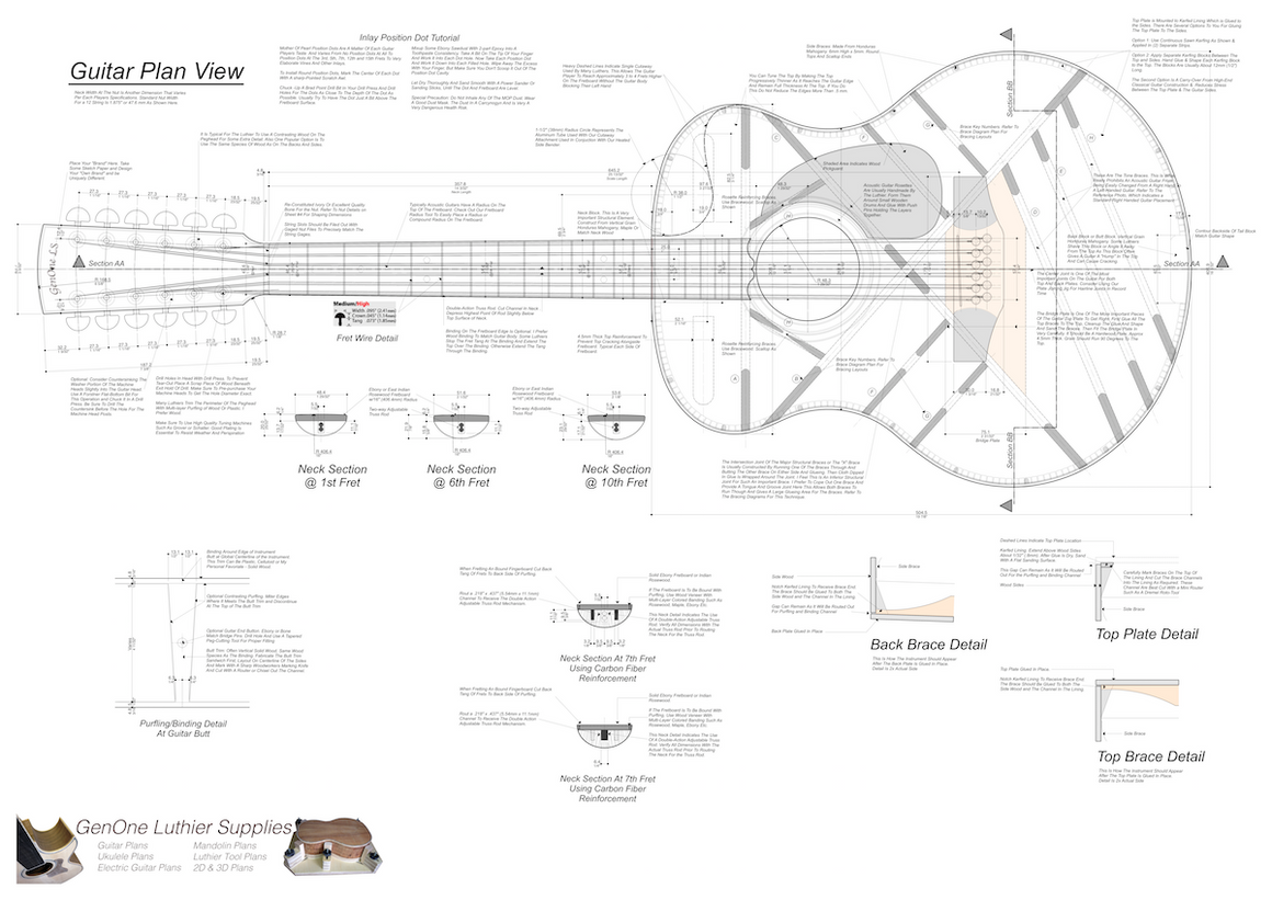Grand Auditorium 12-String Guitar Plans Guitar Plans Top View, Neck Sections & Purfling Details