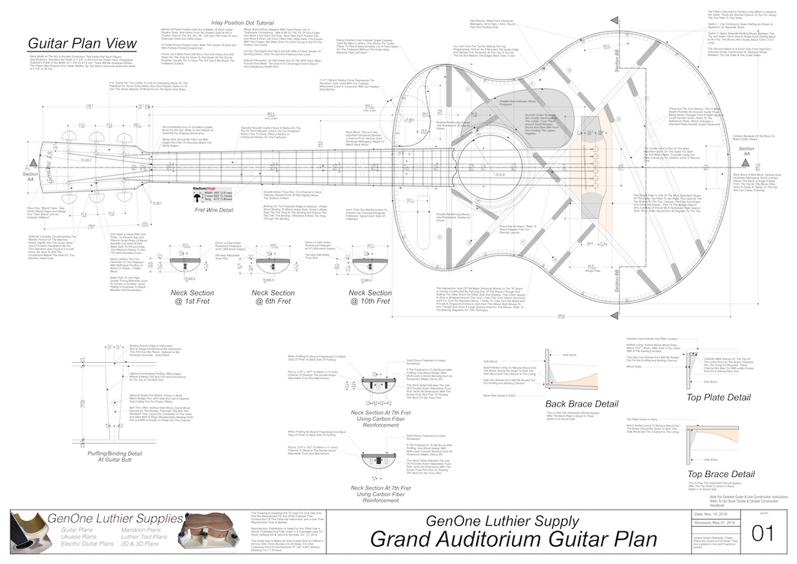 Grand Auditorium Top View, Neck Sections & Purfling Details