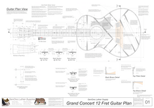 Grand Concert 12-Fret Guitar Plans Top View, Neck Sections & Purfling Details