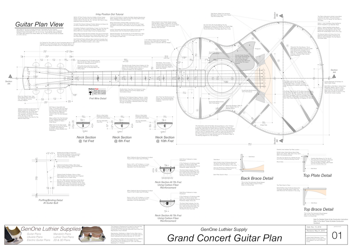 Grand Concert Guitar Plans Top View, Neck Sections & Purfling Details
