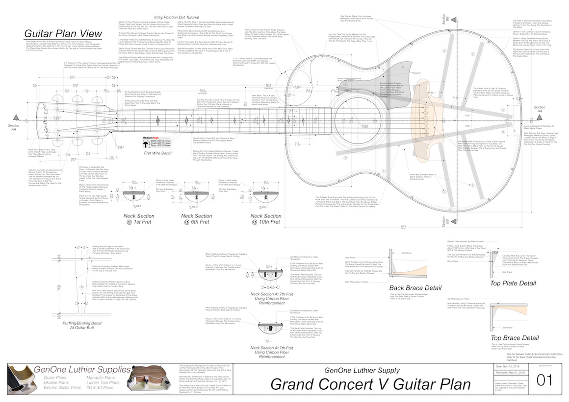 Grand Concert V Guitar Plans Top View, Neck Sections & Purfling Details