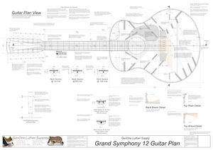 Grand Symphony 12-String Guitar Plan Top View, Neck Sections & Purfling Details
