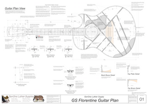 Grand Symphony Florentine Guitar Plans Guitar Plans Top View, Neck Sections & Purfling Details
