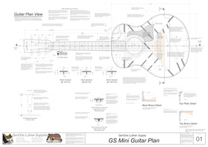 GS Mini Guitar Plans Top View, Neck Sections & Purfling Details