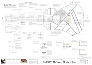 HD-28VS 12-Fret Guitar Plans Guitar Plans Top View, Neck Sections & Purfling Details