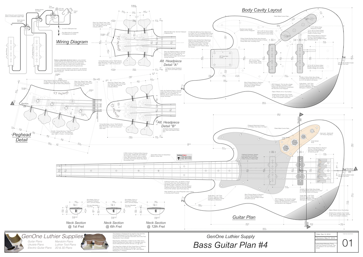 Solid Body Electric Bass Guitar Plan #4 - GenOne Luthier Services | Hollow Body Bass Guitar Wiring Diagram |  | GenOne Luthier Services Guitar Plans