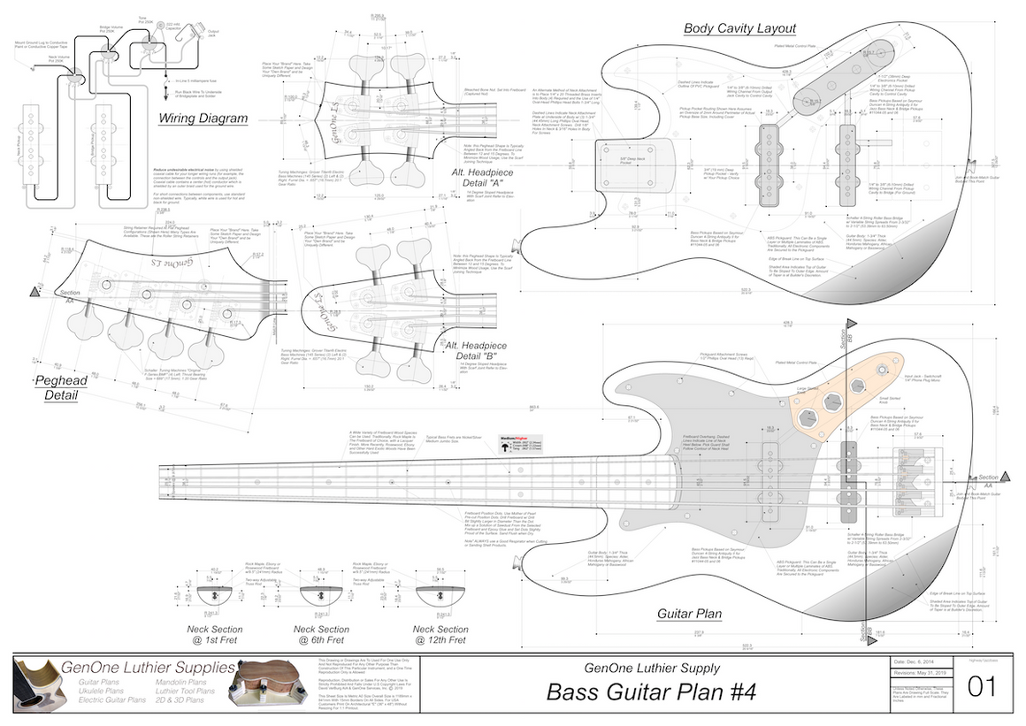 Solid Body Electric Bass Guitar Plan #4 guitar top view, cutting template, neck sections, wiring diagram, fret spacing table