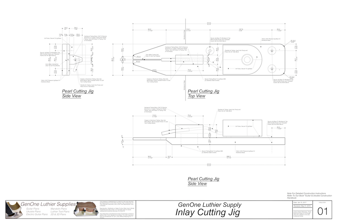 Inlay Cutting Jig Plans, Top, End and Side Views