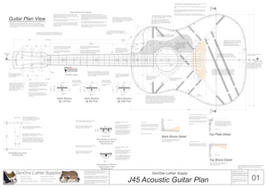 J45 Guitar Plans Top View, Neck Sections & Purfling Details