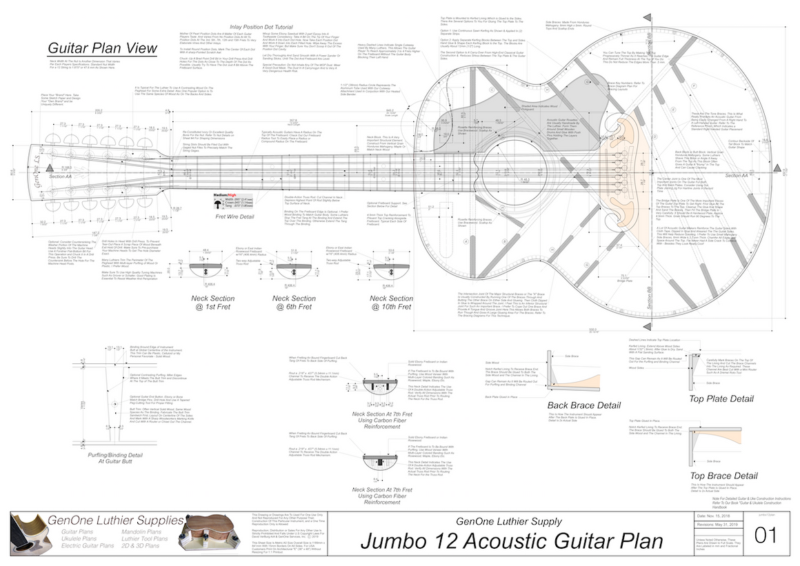 J-200 12-String Guitar Plans Guitar Plans Top View, Neck Sections & Purfling Details