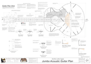 J-200 Guitar Plans Top View, Neck Sections & Purfling Details