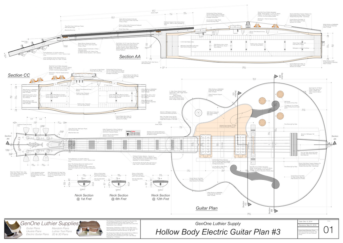 Hollow Body Electric Guitar Plan #3 Guitar top view, lateral & horizontal sections, neck sections