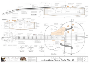 Hollow Body Electric Guitar Plan #2 Guitar top view, lateral & horizontal sections, neck sections