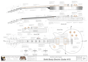 Solid Body Electric Guitar Plan #15 Guitar Top & Side View, Section
