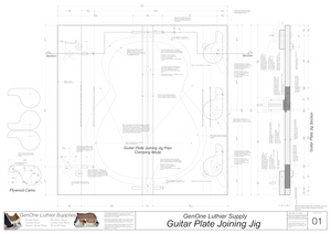 Plate Joining Jig Plans - Guitar Assembled jig top and side views, cam clamp details