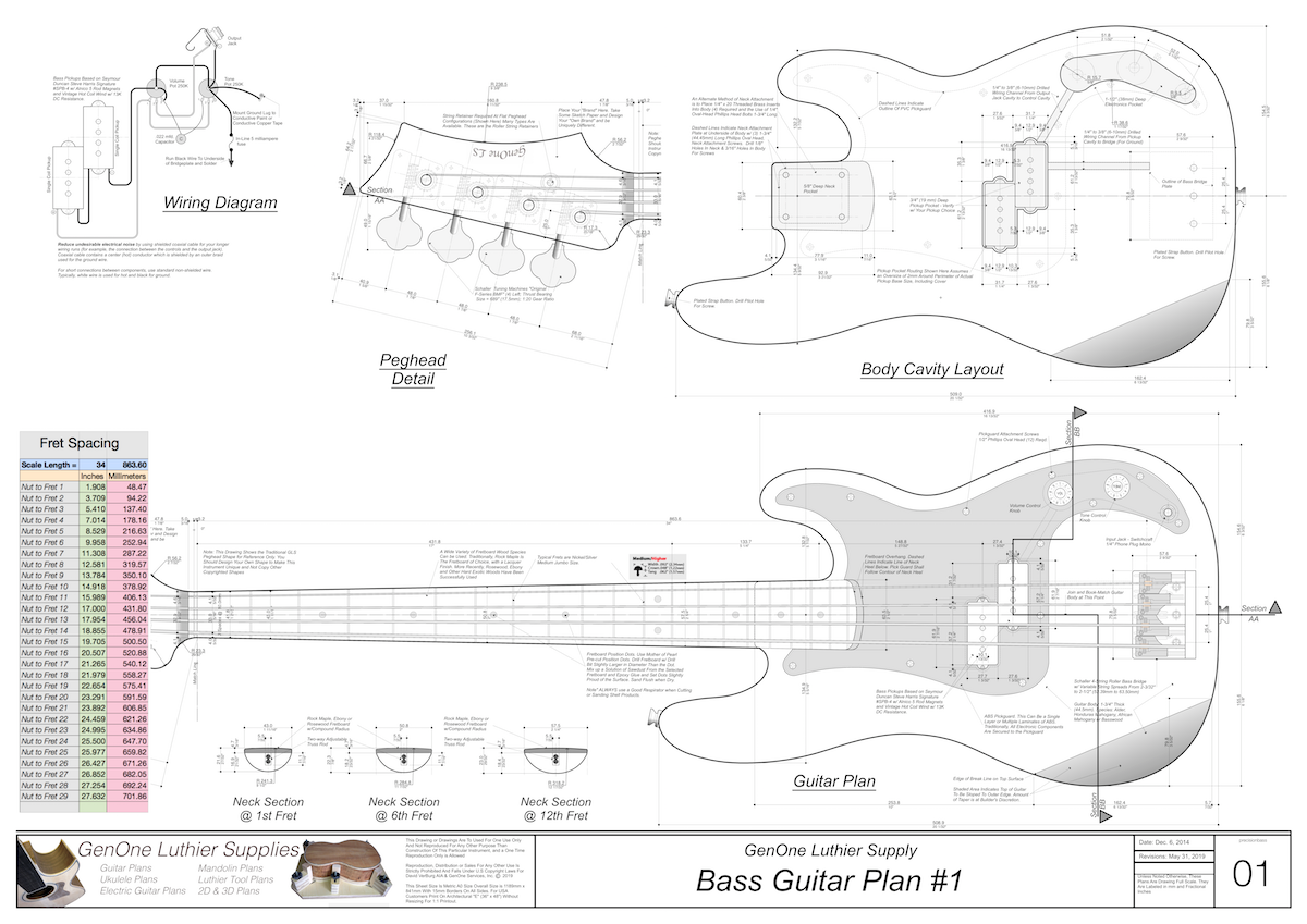 Solid Body Electric Bass Guitar Plan #1 - GenOne Luthier Services | Hollow Body Bass Guitar Wiring Diagram |  | GenOne Luthier Services Guitar Plans