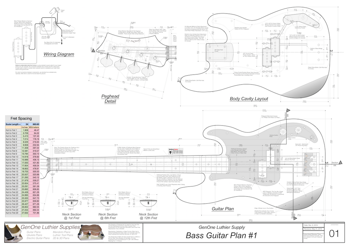 Solid Body Electric Bass Guitar Plan #1 guitar top view, cutting template, neck sections, wiring diagram, fret spacing table