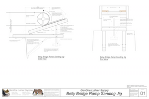 Belly Bridge Ramp Sanding Jig Plans Assembled jig plans side and end views