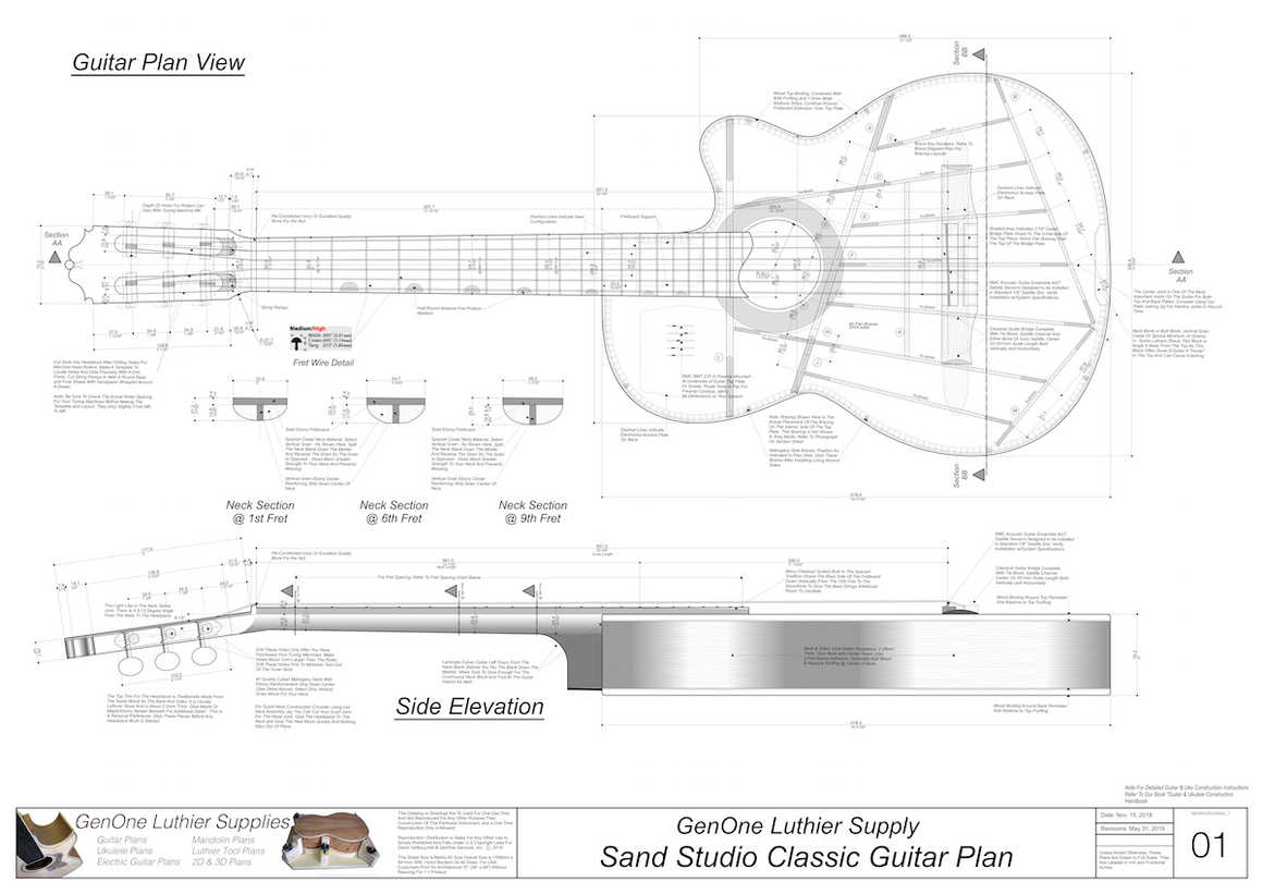 Electric Nylon Guitar Plans - Sand Studio Classic, Guitar Top View, Guitar Side View