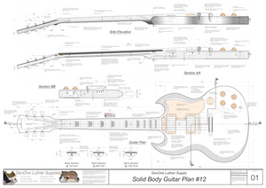 Solid Body Electric Guitar Plan #12 Guitar Top & Side View, Section