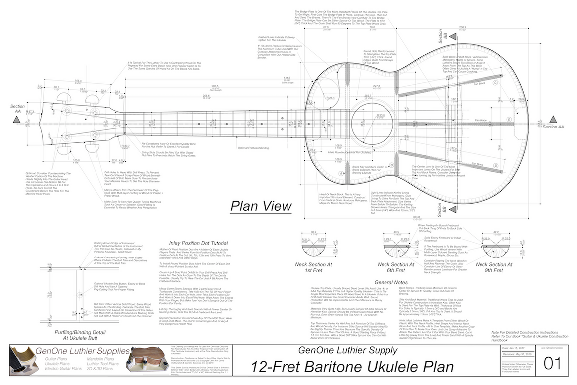 Baritone 12 Ukulele Plans Ukulele Top View, Neck Sections, Notes