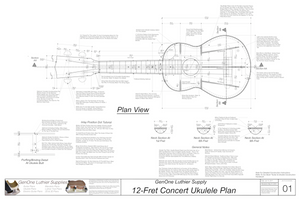 Concert 12 Ukulele Plans Top View, Neck Sections & Purfling Details