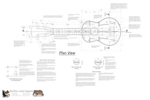 Soprano 12 Ukulele Plans Top View, Neck Sections & Purfling Details
