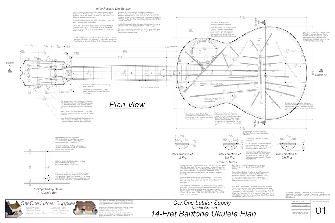 Baritone 14 Kasha Braced Ukulele Plans Ukulele Top View, Neck Sections, Notes