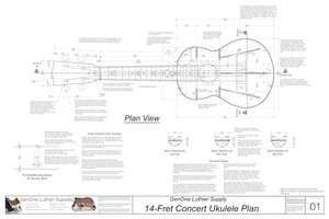 Concert 14 Ukulele Plans Top View, Neck Sections & Purfling Details