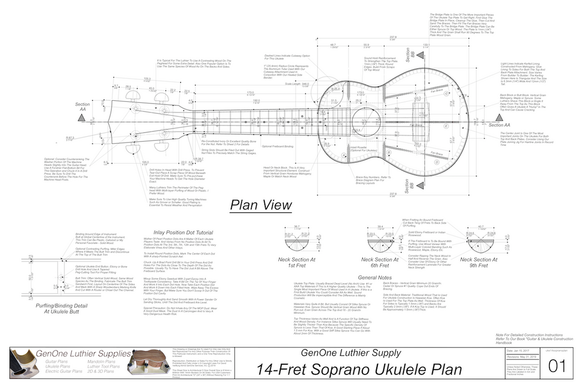 Soprano 14 Ukulele Plans Ukulele Top View, Neck Sections, Notes