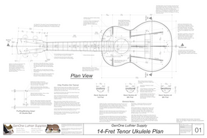 Tenor 14 Ukulele Plans Top View, Neck Sections & Purfling Details