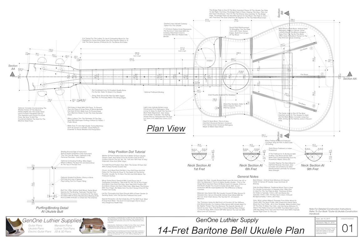 Baritone 14 Bell Ukulele Plans Top View, Neck Sections & Purfling Details