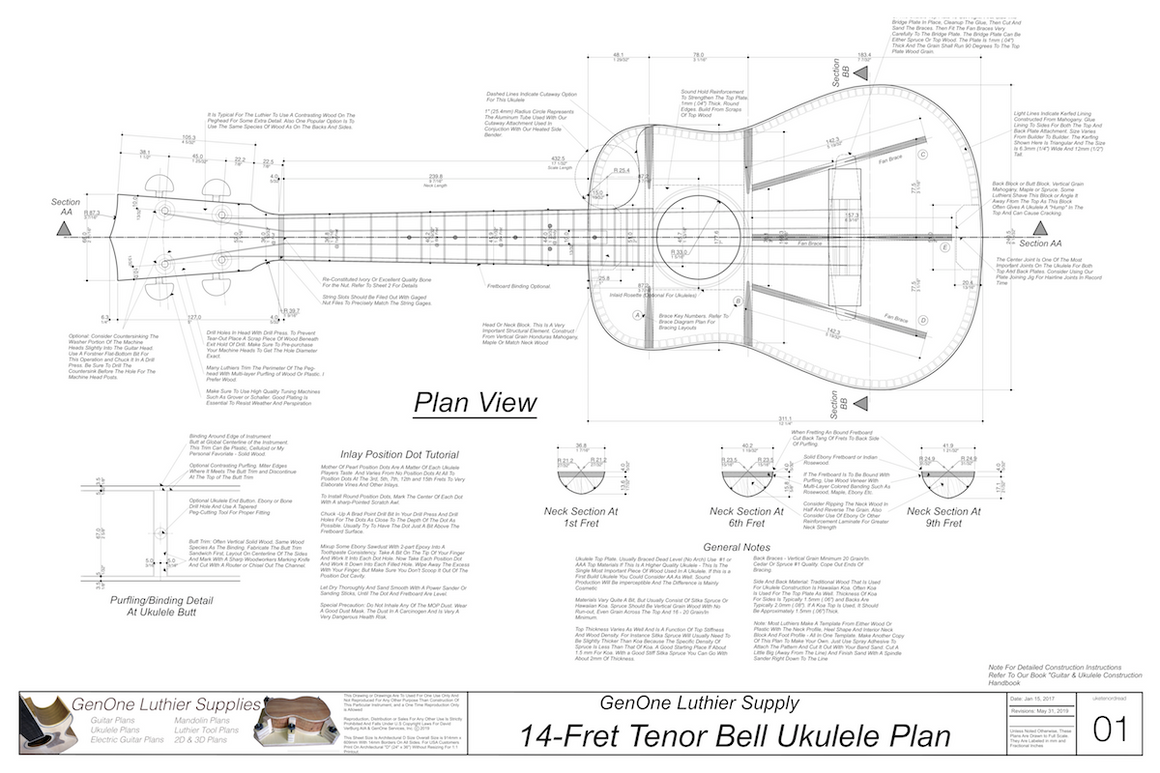 Tenor 14 Bell Shaped Ukulele Plans Top View, Neck Sections & Purfling Details