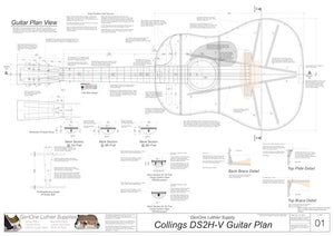 Collings DS2H V-Brace Guitar, Plan View