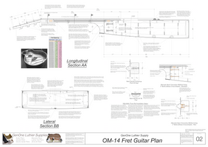 OM-14 Fret Guitar Plans Sections & Details
