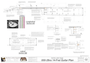 000-28vs 14 Fret Guitar Plans Guitar Plans Sections & Details