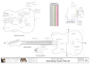 Solid Body Electric Guitar Plan #2 Guitar back, cutting template, wiring diagram, fret spacing table