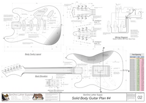 Solid Body Electric Guitar Plan #4 Guitar Back, Cutting Template & Wiring Diagram