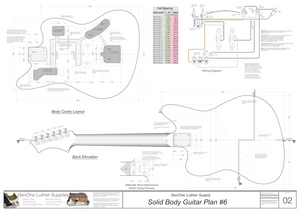 Solid Body Electric Guitar Plan #6 Guitar Back, Cutting Template & Wiring Diagram