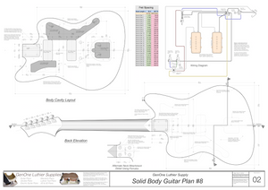 Solid Body Electric Guitar Plan #8 Guitar Back, Cutting Template & Wiring Diagram