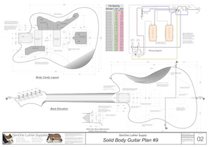 Solid Body Electric Guitar Plan #9 Guitar Back, Cutting Template & Wiring Diagram