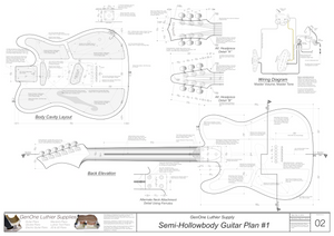 Hollow Body Electric Guitar Plan #1 Guitar back, cutting template, alt. headstocks, wiring diagram