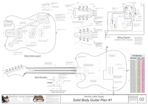 Solid Body Electric Guitar Plan #1 Guitar Back, Cutting Template & Wiring Diagram